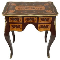 French Circa 1950's Marquetry Escritoire Bronze Ormolu Writing Desk