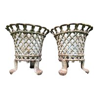Pair Antique Garden Cast Iron Lattice Urn Planters Claw Feet Circa 1910's