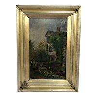 English School Oil Painting Historic Tudor House Little Moreton Hall Congleton