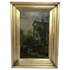 English School Oil Painting Historic Tudor House Little Moreton Hall Congleton
