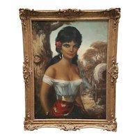 Fine Impressionism Art Circa 1950's German School Oil Painting Gypsy Girl Portrait