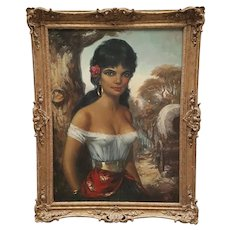 Fine Impressionism Art Circa 1950's German School Oil Painting Gypsy Girl Portrait