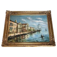 Beautiful Large Italian Oil Painting Marine Island Giudecca Venice Waterfront