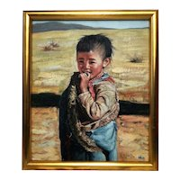 Chinese portrait oil painting tribal boy Gobi desert