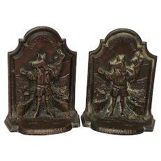 Set English Antique Bronze Winchester College Bookend Sculptures