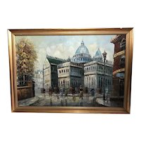 French Impressionism Oil Painting St Paul's Cathedral London Circa 1930's
