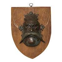 Vintage Circa 1930's Bronze Green Man Wall Shield Plaque Sculpture