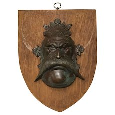 Vintage Circa 1930's Bronze Green Man Wall Shield Plaque Sculpture