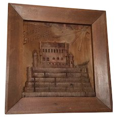 German 20th Century Carved Wood Plaque Of Schloss Stettenfels Castle Sculpture