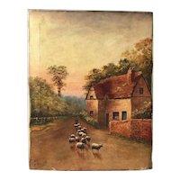 Victorian English Circa 1891 Oil Painting Shepherd Sheep Pastoral