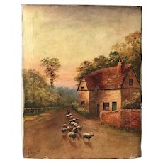 Victorian English Circa 1891 Oil Painting Shepherd Sheep Pastoral