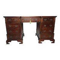 Fine 20th Century Original Camerin Mahogany Partners Office Desk Maker Camerin