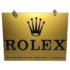 Rare Fine 20th Century Advertising Gold Rolex Watches Shop Display Wall Swinging Sign Old Bond Street Mayfair London