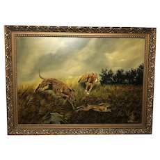 English Art Oil Painting Hunting Dogs Chasing Hare Signed W Hobson