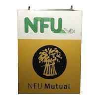 Large British 1970's Double Sided National Farmers Union Mutual Enamel Sign