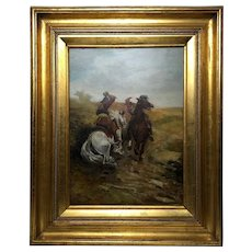 Victorian Oil Painting Cavalier Roundhead Sword Skirmish Horseback Battle