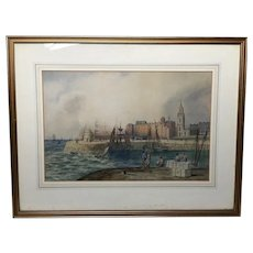 Circa 1842 Watercolour Liverpool Mersey Ships St George's Basin T Hargreaves