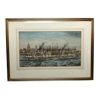 19th Century Watercolour Painting Liverpool Paddle Ferry Ships Mersey McGahey
