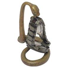 Victorian 19th Century Bronze Snake Pocket Watch Holder Sculpture