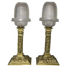 Pair Victorian Clarke's Cricklite Bronze Ormolu Dome Shades Sconces Fairy Lamps