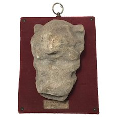 English Postern Grotesque Dog Composite Stone Sculpture Wall Plaque