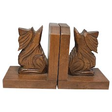 Pair Vintage 1970's Scottish Terrier Dogs Carved Wood Sculptures Bookends