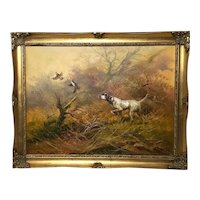 Painting Hunting Dog & Grouse In Flight Listed American Artist Kingman