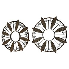 Pair Rusted 19th Century Spanish Wrought Iron Roundels Wall Sculptures