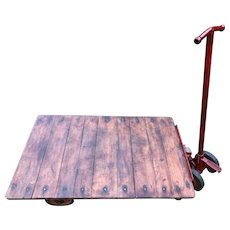 English Willmot 1940's Railway Platform Oak Iron Plank Top Wheeled Coffee Table