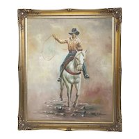 Fine American 1970's Oil Painting Rodeo Cowboy Riding Horseback