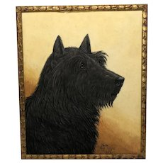 English Circa 1934 Watercolour Portrait Black Scottie Terrier Dog