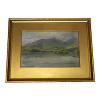 English Watercolour Windermere From Bowness Signed Dewhurst Circa 1950