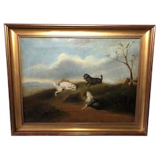"Fine Art English Victorian 19th Century Oil Painting 3 Terrier Dogs ""Anticipation"""