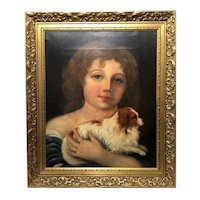 Victorian English Oil Painting Young Girl & Cavalier King Charles Spaniel