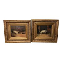 Pair English Victorian Oil Paintings Terrier Dogs Ratting Signed J Langlois