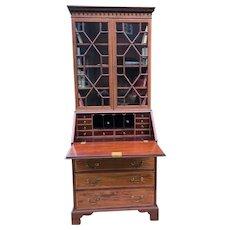 English Victorian Mahogany Hepplewhite Inlaid Bureau Bookcase By Jas Shoolbred