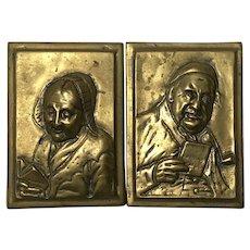 Pair Scottish Circa 1850 Victorian Gilt Bronze Pipe Smoker Man & Lady Plaques