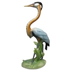 Italian Original Circa 1970's Porcelain Crane Bird Ornament Signed