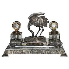 English Circa 1880 Antique Victorian Silver Plate Crane Bird Inkwell Stand