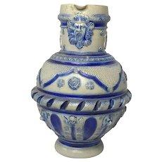 Antique German Bavarian Stoneware Wine Stein Ewer Green Man Lion Jar Vase