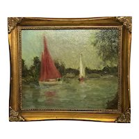 English Circa 1960's Impressionism Oil Painting Racing Boats Thames By Windsor