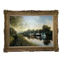 English Oil Painting Pastoral Boats Heybridge Basin Canal Listed Graham Petley