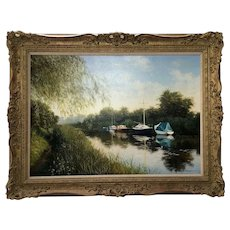 English Oil Painting Pastoral Boats Heybridge Basin Canal Listed Graham Petley