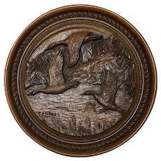 Vintage 20th Century 1970's Original Round Carved Wood Canadian Birds Geese Sculpture Plaque Signed