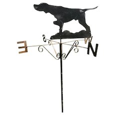 Vintage Original Early 20th Century 1930's Architectural Iron Roof Pointer Dog Wind Direction Weathervane