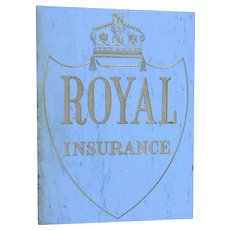 Large Heavy Vintage Circa 1950's Architectural Marble Gilt Inscribed Royal Insurance Sign