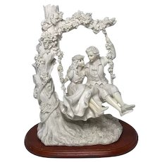 French Sculpture Lady & Gentleman Lovers Floral Centrepiece Figurine