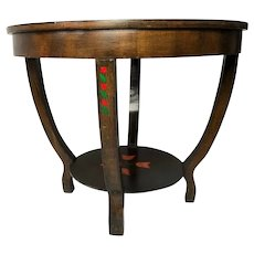 Vintage Small French Round Cherrywood Paris Roses Coffee Table Living Room