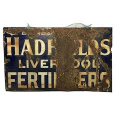 English 1930's Advertising Enamel Sign Hadfields Liverpool Fertilisers