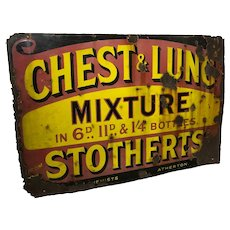 Large Medicine Chemist Stotherts Atherton Chest & Lung Mixture Enamel Sign